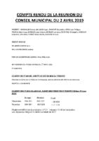 Compte rendu du conseil municipal du 2 avril 2019