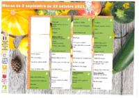 Menus Cantine du 2 septembre au 22 octobre 2021